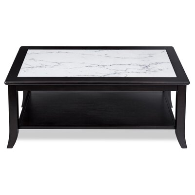 Fenske Marble Top Coffee Table Table Base Color: Black, Table Top Color: White