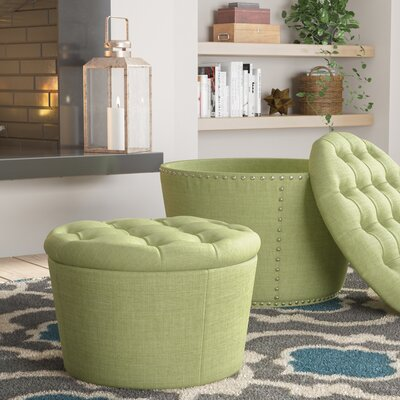 Evangelina 2 Piece Tufted Storage Ottoman Set Upholstery: Milford Grass