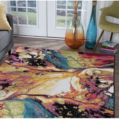 Weisman Yellow/Blue Area Rug Rug Size: Rectangle 4 x 6
