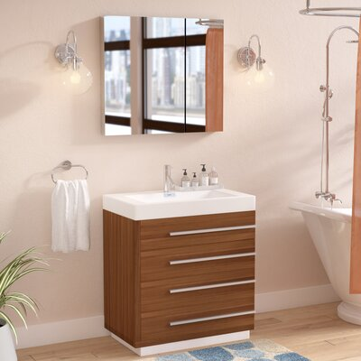 Copher 30 Single Bathroom Vanity Set with Mirror Faucet Finish: Polished Chrome