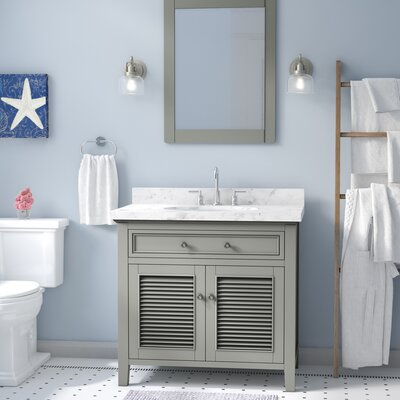 Davisboro Solid Wood 37 Single Bathroom Vanity Set with Mirror Base Finish: Gray