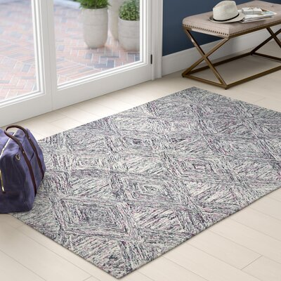 Divernon Hand-Woven Wool Charcoal/Purple Area Rug Rug Size: Rectangle 5 x 76