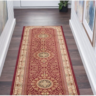 Clarence Red/Beige Area Rug Rug Size: Rectangle 2  x 10
