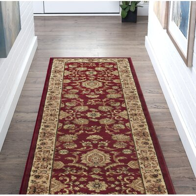 Clarence Beige/Red Area Rug Rug Size: Rectangle 2 x 10