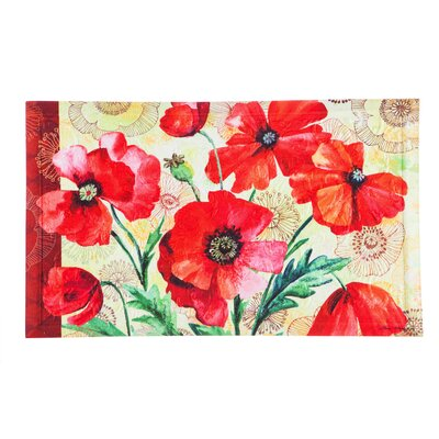 DeLussey Watercolor Poppies Embossed Doormat