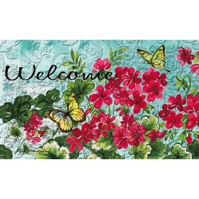DeLussey Geraniums and Butterflies Embossed Doormat