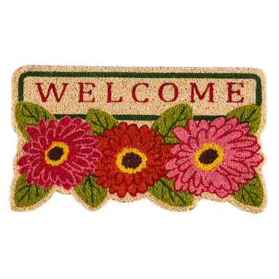 DeLussey Floral Welcome Shaped Coir Doormat