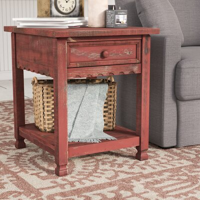 Mangum Cottage Rectangular End Table Color: Red