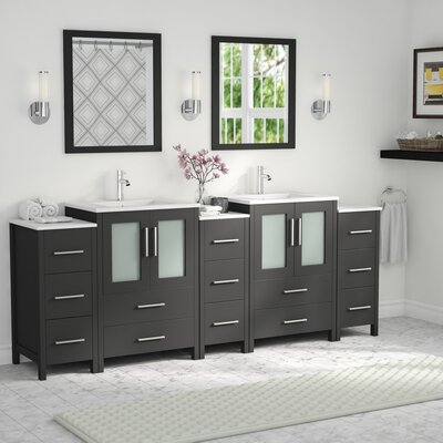 Karson Framed 84 Double Bathroom Vanity Set with Mirror Base Finish: Espresso