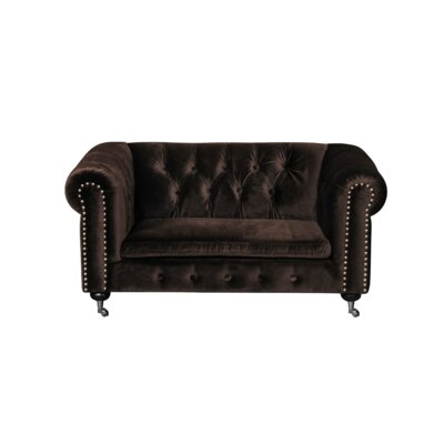 Claire Dog Sofa with Steel Hardware and Casters Color: Chocolate