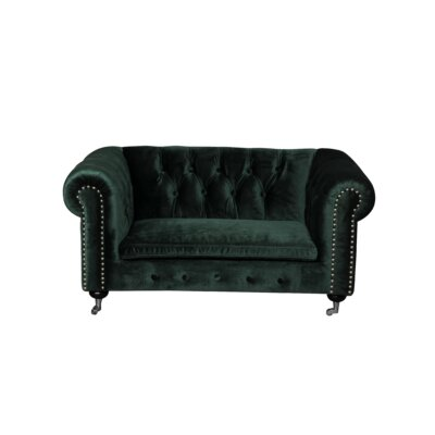 Claire Dog Sofa with Steel Hardware and Casters Color: Green