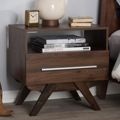 Plaisance Mid-Century Modern 1 Drawer Nightstand