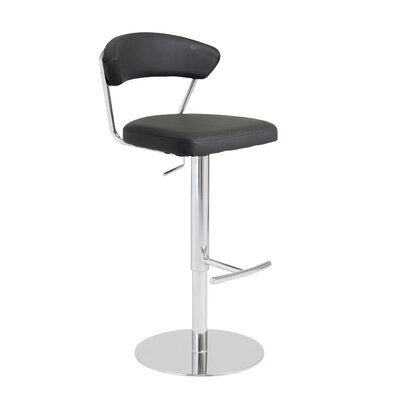 Viviana Adjustable Height Bar Stool Upholstery: Black