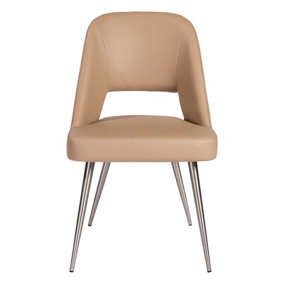 Obyrne Upholstered Dining Chair Upholstery Color: Light Taupe, Leg Color: Brushed stainless