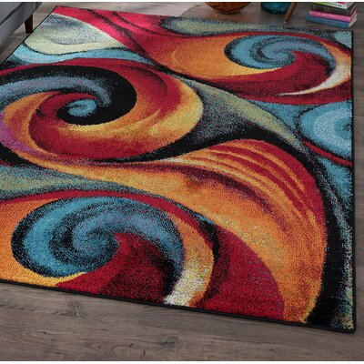 Weisman Red/Blue Area Rug Rug Size: Rectangle 4 x 6