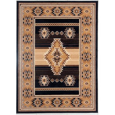 OHare Black/Brown Area Rug Rug Size: Rectangle 53 x 72