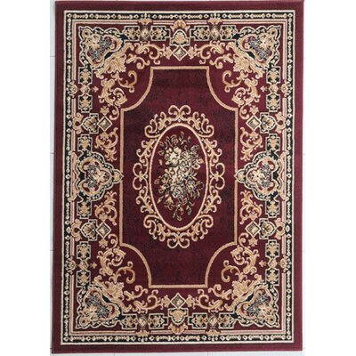 Hakes Burgundy Area Rug Rug Size: Rectangle 53 x 72