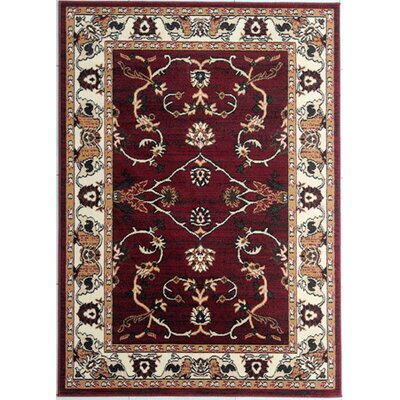 Dever Burgundy Area Rug Rug Size: Rectangle 53 x 72