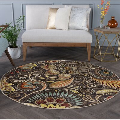 Brimmer Brown Area Rug Rug Size: Round 8