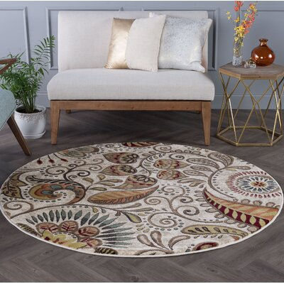 Concord Ivory Area Rug Rug Size: Round 8