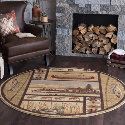 Justine Ivory/Brown Area Rug Rug Size: Round 8