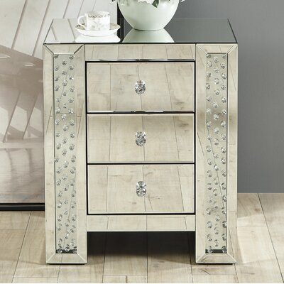 Lasater Crystal 3 Drawer Nightstand