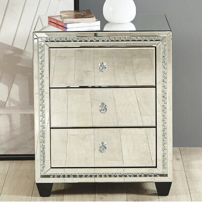 Laster Crystal 3 Drawer Nightstand