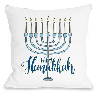 Happy Hanukkah Menorah Throw Pillow Size: 18 x 18