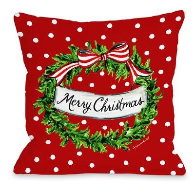 Christmas Dot Wreath Throw Pillow Size: 18 x 18
