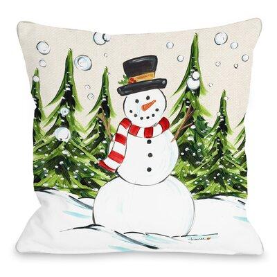 Jolly Snowman Throw Pillow Size: 18 x 18