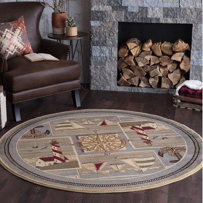 Averill Gray/Beige Area Rug Rug Size: Round 8
