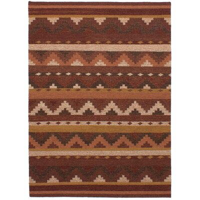 Mowery Handmade Kilim Wool Dark Red Area Rug