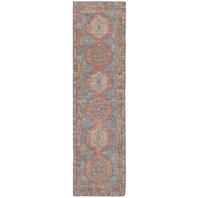 Bevers Hand Flat Woven Wool Blue Area Rug Rug Size: Runner 26 x 10