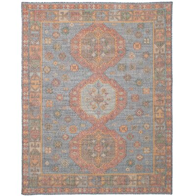 Bevers Hand Flat Woven Wool Blue Area Rug Rug Size: Rectangle 80 x 100