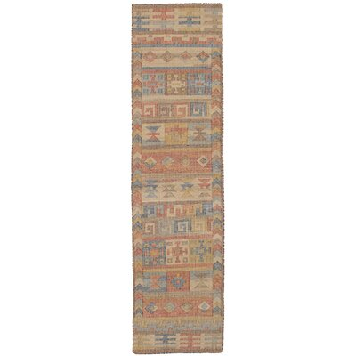 Bevers Hand Flat Woven Wool Dark Copper/Light Khaki Area Rug Rug Size: Runner 26 x 10