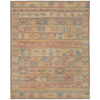 Bevers Hand Flat Woven Wool Dark Copper/Light Khaki Area Rug Rug Size: Rectangle 80 x 100