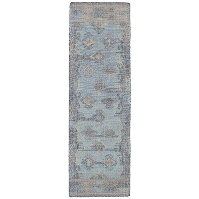 Bevers Hand Flat Woven Wool Light Blue Area Rug Rug Size: Runner 26 x 8
