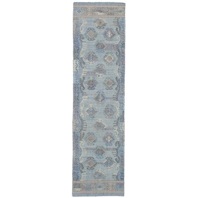 Bevers Hand Flat Woven Wool Light Blue Area Rug Rug Size: Runner 26 x 10