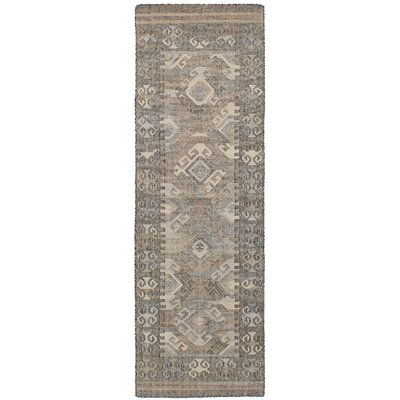 Bevers Hand Flat Woven Wool Gray Area Rug Rug Size: Runner 26 x 8