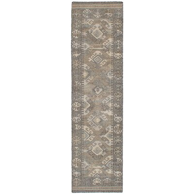 Bevers Hand Flat Woven Wool Gray Area Rug Rug Size: Runner 26 x 10