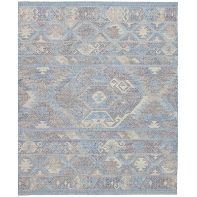 Bevers Hand Flat Woven Wool Sky Blue Area Rug Rug Size: Rectangle 80 x 100