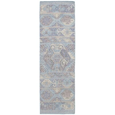 Bevers Hand Flat Woven Wool Sky Blue Area Rug Rug Size: Runner 26 x 8
