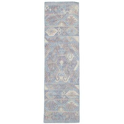 Bevers Hand Flat Woven Wool Sky Blue Area Rug Rug Size: Runner 26 x 10