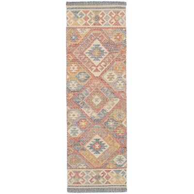 Bevers Hand Flat Woven Wool Red Area Rug Rug Size: Runner 26 x 8