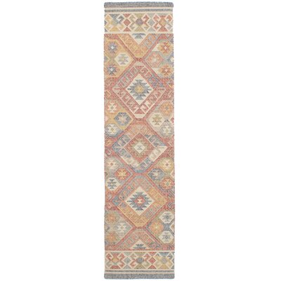 Bevers Hand Flat Woven Wool Red Area Rug Rug Size: Runner 26 x 10
