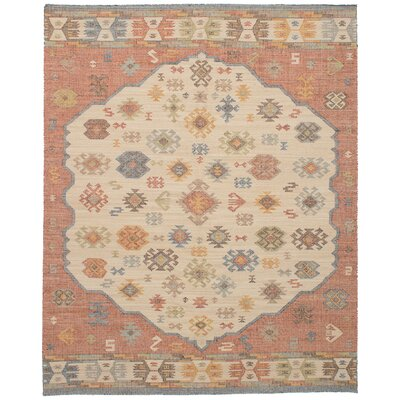 Bevers Hand Flat Woven Wool Cream/Red Area Rug Rug Size: Rectangle 80 x 100