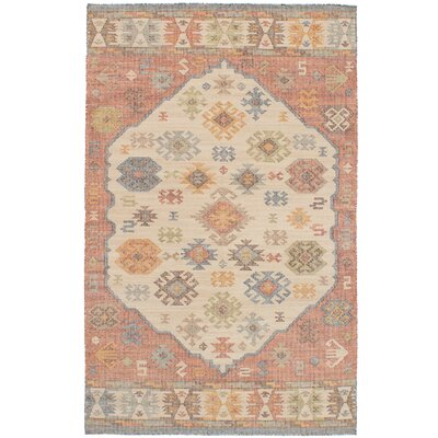 Bevers Hand Flat Woven Wool Cream/Red Area Rug Rug Size: Rectangle 411 x 80