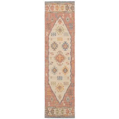 Bevers Hand Flat Woven Wool Cream/Red Area Rug Rug Size: Runner 26 x 10