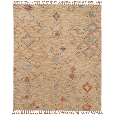 Canales Hand-Knotted Wool Tan Area Rug Rug Size: Rectangle 80 x 100