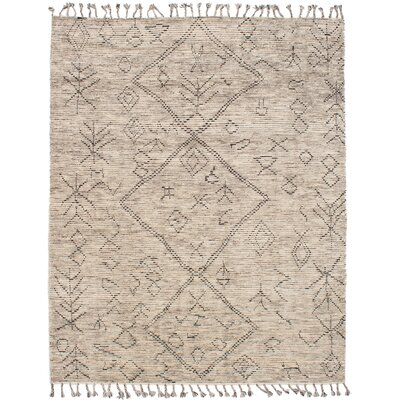 Canales Hand-Knotted Wool Cream Area Rug Rug Size: Rectangle 8'0